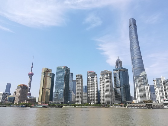 Shanghai wolkenkrabbers in Pudong